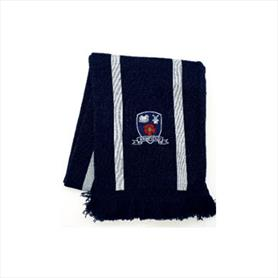 2 colour jacquard stripe scarf with embroidery