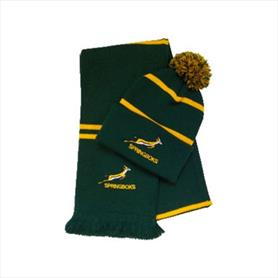 Twin stripe hat & scarf set with embroidery
